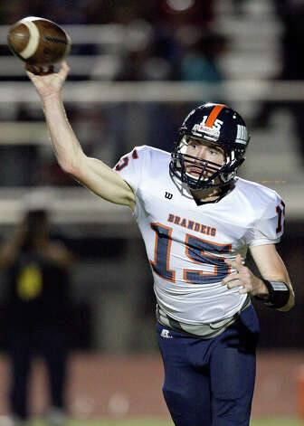 Brandeis' Colbie Price passes against Del Rio during first half action Friday Nov. 30, 2012 at Eagle Pass ISD Stadium in Eagle Pass, Tx. Photo: Edward A. Ornelas, Express-News / © 2012 San Antonio Express-News