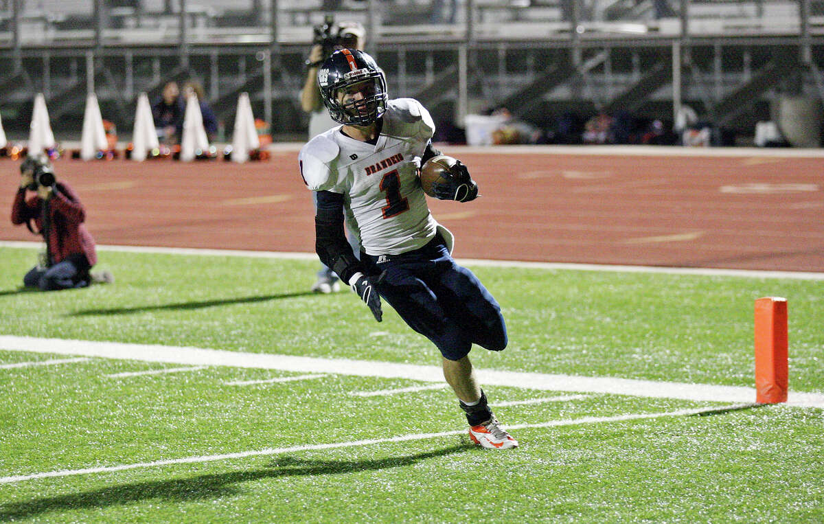 Brandeis' Trinton Ynclan scores a touch down against Del Rio during first half action Friday Nov. 30, 2012 at Eagle Pass ISD Stadium in Eagle Pass, Tx.