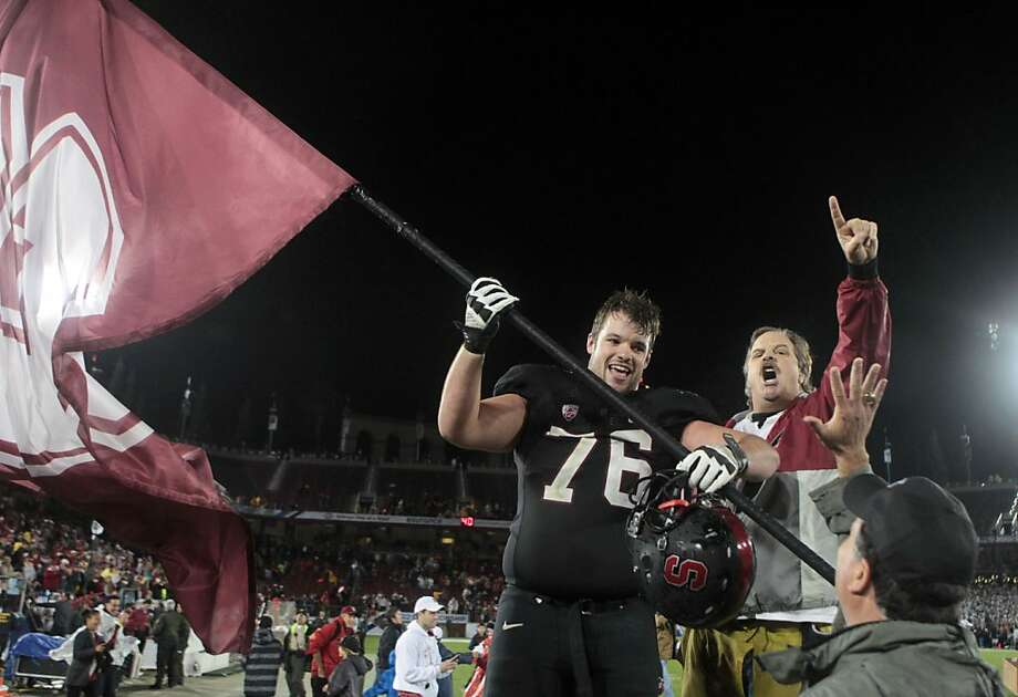 Stanford's Kevin Danser celebrates the Cardinal's 27-24 win over UCLA Friday Nov. 30, 2012 in Stanford, Calif. Photo: Lance Iversen, The Chronicle