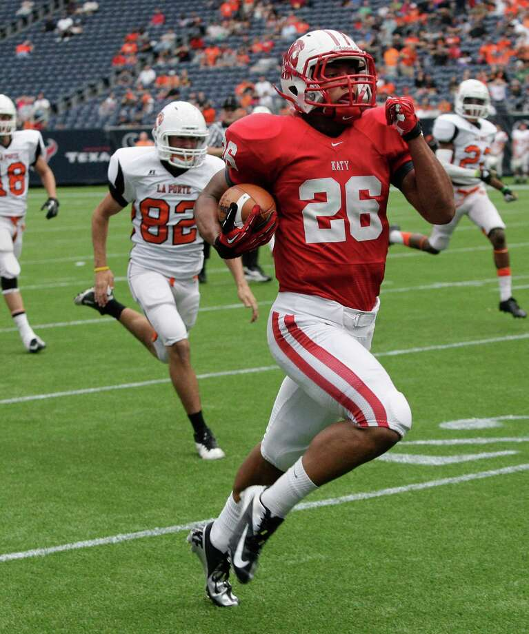 Katy running back Rodney Anderson runs for a score against La Porte. Photo: Bob Levey, Houston Chronicle / ©2012 Bob Levey