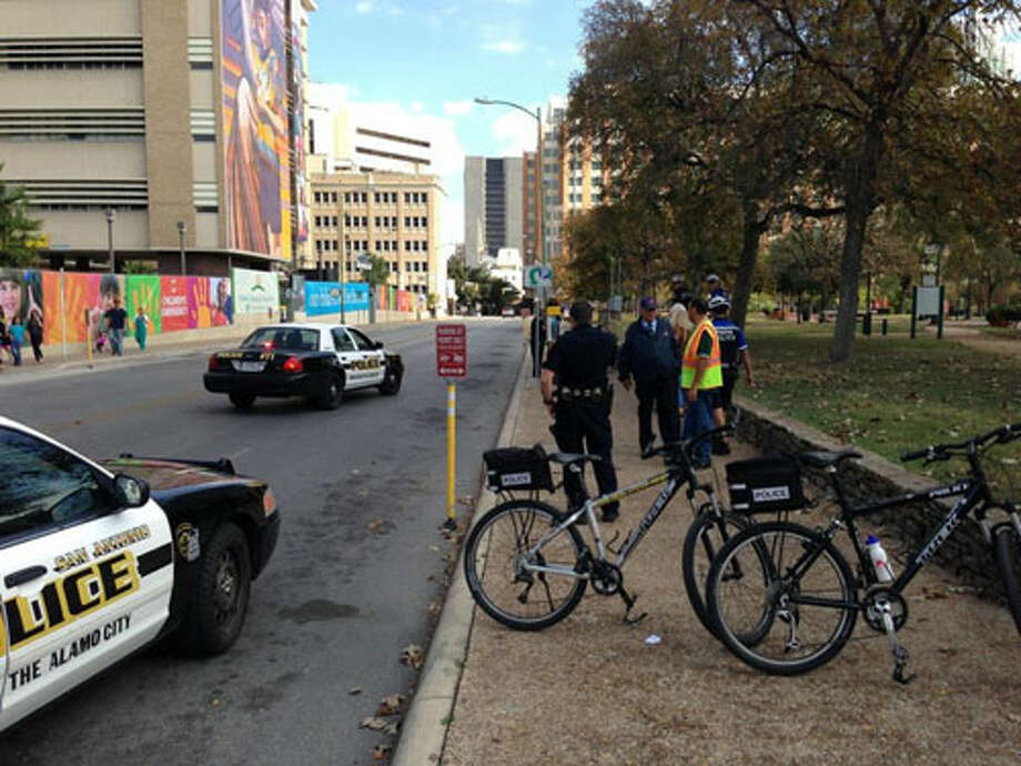 Photo of the apparently scene of the drive by shooting downtown, in front of Santa Rosa hospital. Photo by Nolan Hicks