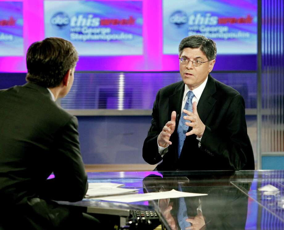 """A handout photo of White House Chief of Staff Jacob Lew, right, on """"This Week with George Stephanopoulos"""" in July. Quiet, religious and meticulous, Lew may be the most unassuming power broker in Washington. (Lou Rocco/ABC via The New York Times) -- NO SALES; FOR EDITORIAL USE ONLY WITH STORY SLUGGED FISCAL LEW. ALL OTHER USE PROHIBITED. Photo: LOU ROCCO, New York Times / ABC"""