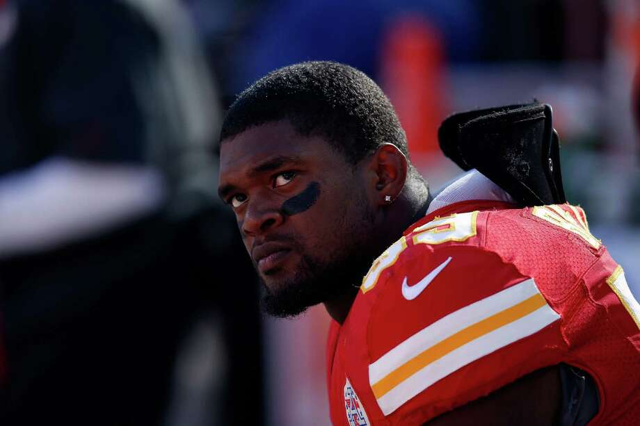 Inside linebacker Jovan Belcher #59 of the Kansas City Chiefs wathces from the sideliens during his final game against the Denver Broncos at Arrowhead Stadium on November 25, 2012 in Kansas City, Missouri. Photo: Jamie Squire, Getty Images / 2012 Getty Images