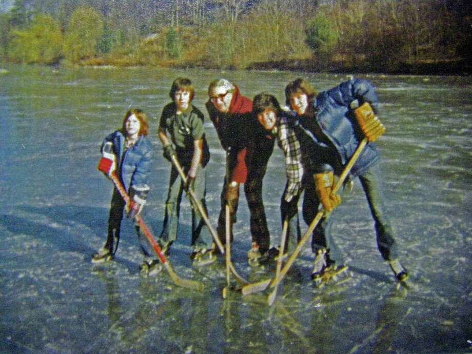 Members of the Mehan family from left to right, Michael, Chris, Joe, Jeff and David Mehan skating on the lake behind the estate of Jackie Robinson circa mid to late 1970s. Photo: Contributed Photo