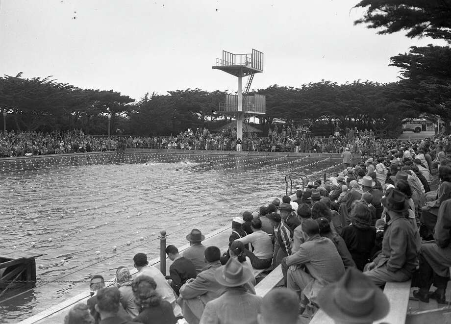 July 19, 1949: A swim meet at Fleishhacker Pool, which opened in 1925, accommodating thousands of spectators. Johnny Weissmuller was among the world-class swimmers who competed at the saltwater pool -- the largest in the U.S. (Chronicle file)