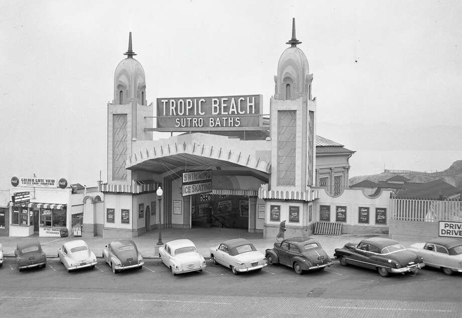 Nov. 12, 1952: The front of Sutro Baths, at Lands End. The facade of the entertainment complex changed frequently after Sutro opened in 1886. (Chronicle file)