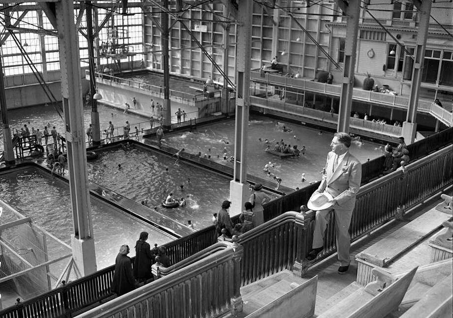 January 1952: Looking down at the Sutro Baths. Salt water flowed in from the sea and the pools were heated to different temperatures. (Joseph J. Rosenthal / The Chronicle)