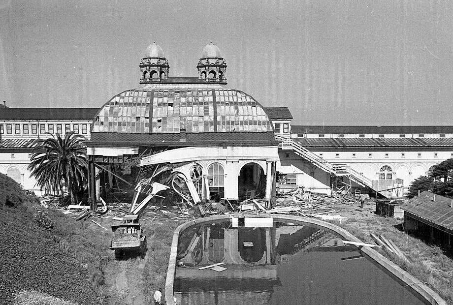 Late 1966: After financial struggles and a suspicious fire, Sutro Baths was demolished. This and the next two photos show some of the destruction. (Chronicle file)