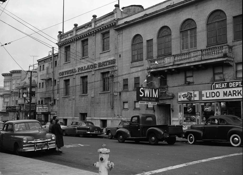Jan. 5, 1956: The Crystal Plunge, just weeks after it was condemned in 1956. The building opened in 1924 at 775 Lombard Street, the most notable of several neighborhood pools using salt water piped in from Fisherman's Wharf.  (Arthur Frisch / The Chronicle)
