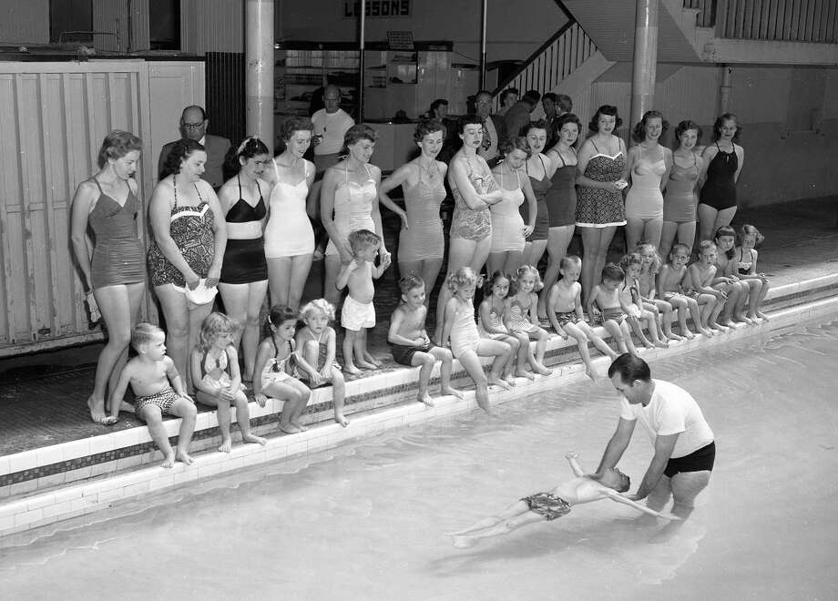 June 22, 1954: Lessons at the Plunge. I guarantee there were whispers about the woman three from the left wearing the two-piece swimsuit. (Bob Campbell / The Chronicle)
