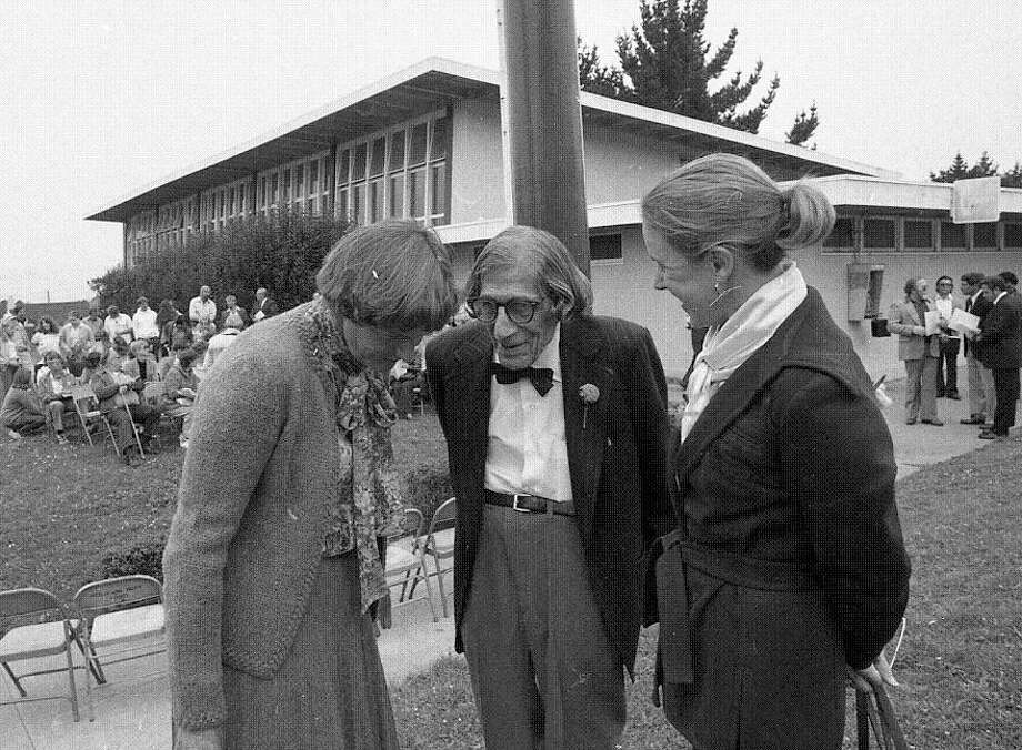 Aug. 13, 1987: Ann Curtis, Charlie Sava and Wendy Nelder at the dedication of the Charlie Sava Pool in the Sunset District. Sava died on his way to work at the pool in 1987. Curtis died earlier this month. The pool still bears his name. (Pete Breinig / The Chronicle)