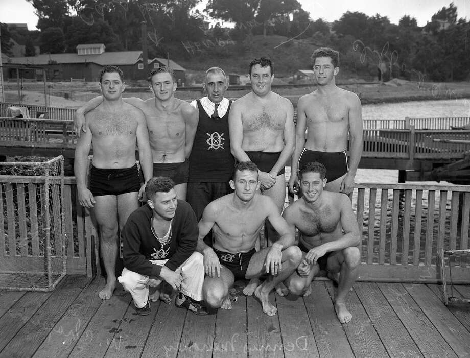 Aug. 17, 1936: Members of the Dolphin Club of San Francisco pose before their annual swim of the Golden Gate. This was an even more useful skill in 1936 -- the Golden Gate Bridge wasn't completed until the following year. (Chronicle file)