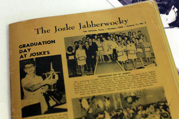 A Joske Jabberwocky newsletter from 1969 as members of the Joske's Quarter Century Club had their final meeting at Trinity Lutheran Church, Saturday, December 1, 2012. The club is made up of former employees of Joske's Department Store, the iconic downtown retailer that closed in 1987 and whose building is still vacant. Photo: JENNIFER WHITNEY / © Jennifer Whitney