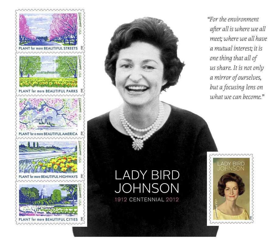 This undated image provided by U.S. Postal Service shows the Lady Bird Johnson souvenir Forever stamps sheet. The smiling face of Lady Bird Johnson goes on a U.S. postage stamp dedicated by the U.S. Postal Service in Austin, Texas on Friday, Nov. 30, 2012. The dedication at the Lady Bird Johnson Wildflower Center of the University of Texas at Austin came on the 47th anniversary of the signing of legislation Johnson promoted to beautify America's highways. The souvenir sheets consist of six stamps, each with a quote from Johnson on her belief in environmental protection of the nation's countryside. (AP Photo/U.S. Postal Service) Photo: Associated Press / U.S. Postal Service