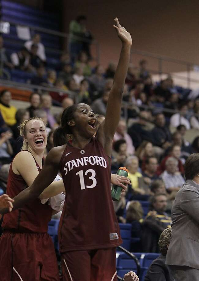 Chiney Ogwumike celebrates Stanford's rout of UC Davis. Ogwumike scored 27 points in Friday's win and is averaging 20.9 points this season. Photo: Rich Pedroncelli, Associated Press