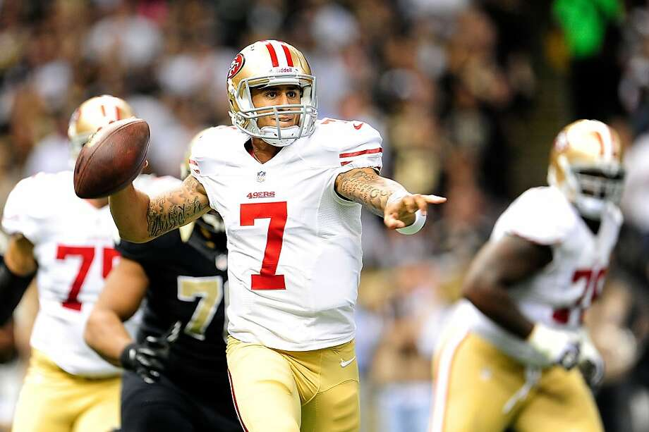 NEW ORLEANS, LA - NOVEMBER 25:  Colin Kaepernick #7 of the San Francisco 49ers looks for an open receiver during a game against the New Orleans Saints at the Mercedes-Benz Superdome on November 25, 2012 in New Orleans, Louisiana.  (Photo by Stacy Revere/Getty Images) Photo: Stacy Revere, Getty Images