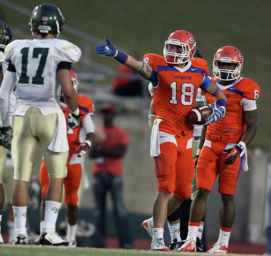 Sam Houston State's Trey Diller (19) signals first down after a reception during the second half of a FCS college football playoff game against Cal Poly, Saturday, December 1, 2012 at Bowers Stadium in Huntsville, TX. Photo: Eric Christian Smith, For The Chronicle