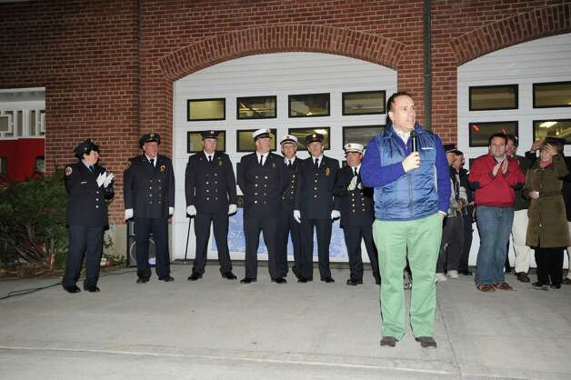 Greenwich First Selectman Peter Tesei speaks during an Old Greenwich Community appreciation ceremony to thank first responders and emergency personnel for their work before, during and after Hurricane Sandy, at the Sound Beach Firehouse, Saturday night, Dec. 1, 2012. Photo: Bob Luckey / Greenwich Time