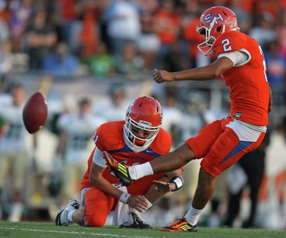 Sam Houston State kicker Miguel Antonio (2) connects for a 32-yard field goal during the first half of a FCS college football playoff game against Cal Poly , Saturday, December 1, 2012 at Bowers Stadium in Huntsville, TX. Photo: Eric Christian Smith, For The Chronicle