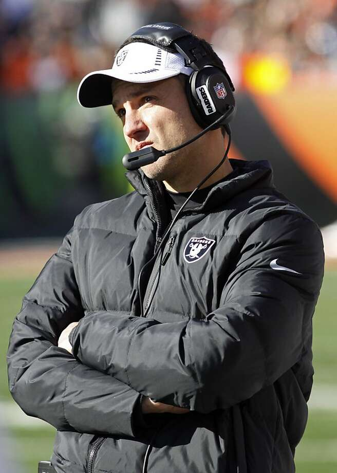GM Reggie McKenzie says he is pleased with the work of first-year coach Dennis Allen, above, despite the 3-8 record. Photo: Tom Uhlman, Associated Press