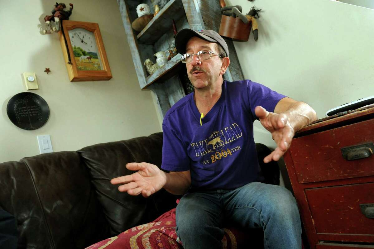 Resident Ken Blaisure talks about living near a natural gas drilling site on Tuesday, Nov. 13, 2012, at his home in Bridgewater, Penn. (Cindy Schultz / Times Union)