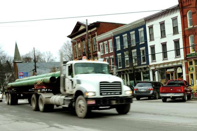 A truck rolls through the main intersection on Wednesday, Nov. 14, 2012, in Montrose, Penn. (Cindy Schultz / Times Union) Photo: Cindy Schultz