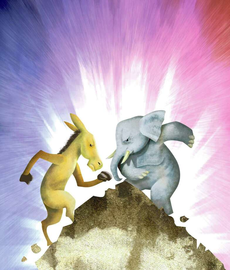 "300 dpi Hector Casanova illustration of the Democrat donkey fighting it out with the Republican elephant on top of the so called ""fiscal cliff."" The Kansas City Star 2012  04000000; 11000000; FIN; krtbusiness business; krtgovernment government; krtnational national; krtpolitics politics; POL; 2012; krt2012; mctillustration; 04008004; 04008008; 04017000; government debt; krteconindicator economic indicator; krteconomy economy; krtintlbusiness; krtmacroecon macroeconomics macro economics; krtnamer north america; krtusbusiness; u.s. us united states; 11013001; krtuspolitics; national budget; public finances public finance; tax; USA; chart; spending cut cuts; automatic; bipartisan supercommittee; cost; debt ceiling; defense nondefense; democrat dems democratic; donkey; elephant; fighting; fight; casanova; fiscal cliff; gdp gross national product growth; iraq afghan afghanistan war; medicare prescription drug plan; president george w. w bush; recession; republican gop; social security; spending; stimulus; tarp; tax cut increase hike; 04018000; 09009000; jobless rate; krtlabor labor; LAB; unemployment; kc contributed; krt mct Photo: Casanova / The Kansas City Star"