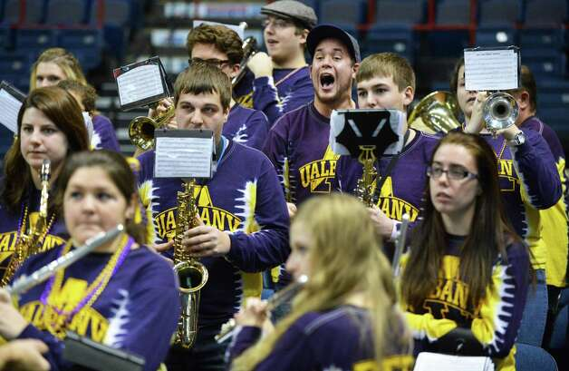 UAlbany's pep band plays and cheers during Saturday's win over Siena women at the Times Union Center in Albany Saturday Dec. 1, 2012.  (John Carl D'Annibale / Times Union) Photo: John Carl D'Annibale / 00020278A