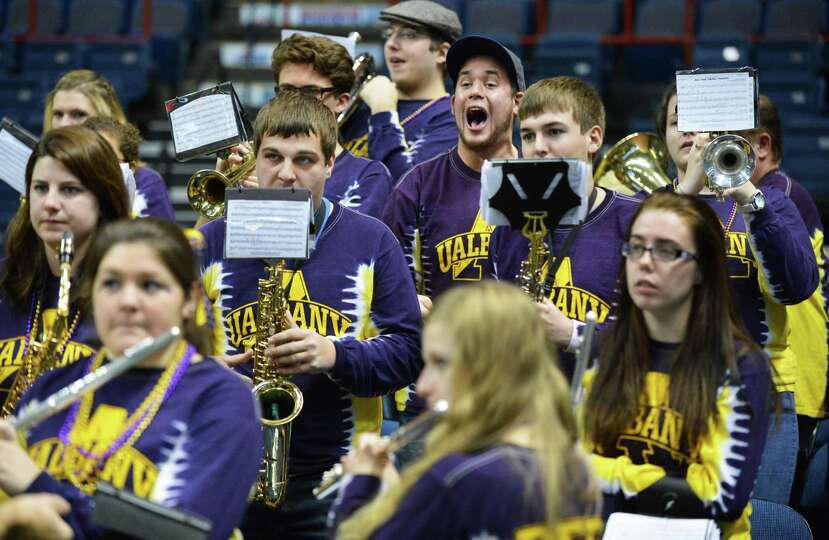 UAlbany's pep band plays and cheers during Saturday's win over Siena women at the Times Union Center
