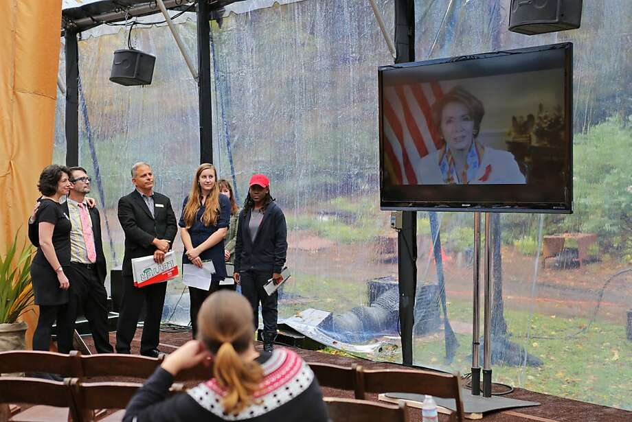Rep. Nancy Pelosi gave a televised speech to accept the National Leadership Award at the 19th Annual World AIDS Day commemoration at the AIDS Memorial Grove in Golden Gate Park, Saturday, December 1, 2012. The  Congresswoman thanked members in the audience for their work in the fight against HIV/AIDS. Rep. Nancy Pelosi helped to create the National AIDS Memorial and is a long-time supporter and volunteer to the AIDS Memorial Grove in Golden Gate Park. Photo: Rashad Sisemore, The Chronicle