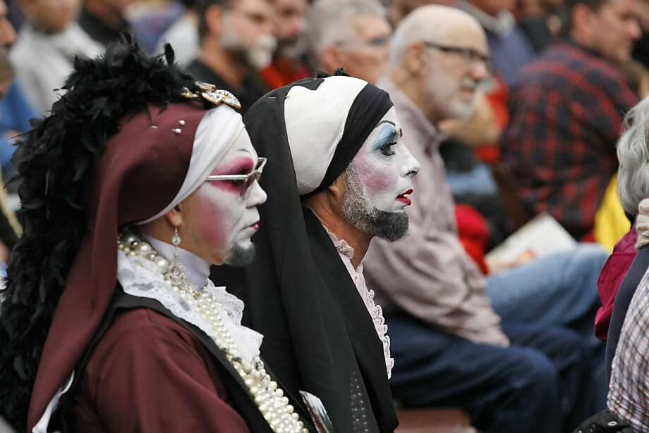 Sister Mary Ralph (center) and Sister Zsa Zsa Glamour from The Sisters of Perpetual Indulgence attended the 19th Annual World AIDS Day commemoration Saturday, Dec. 1, 2012, with a national AIDS memorial service at the AIDS Memorial Grove in Golden Gate Park. Photo: Rashad Sisemore, The Chronicle