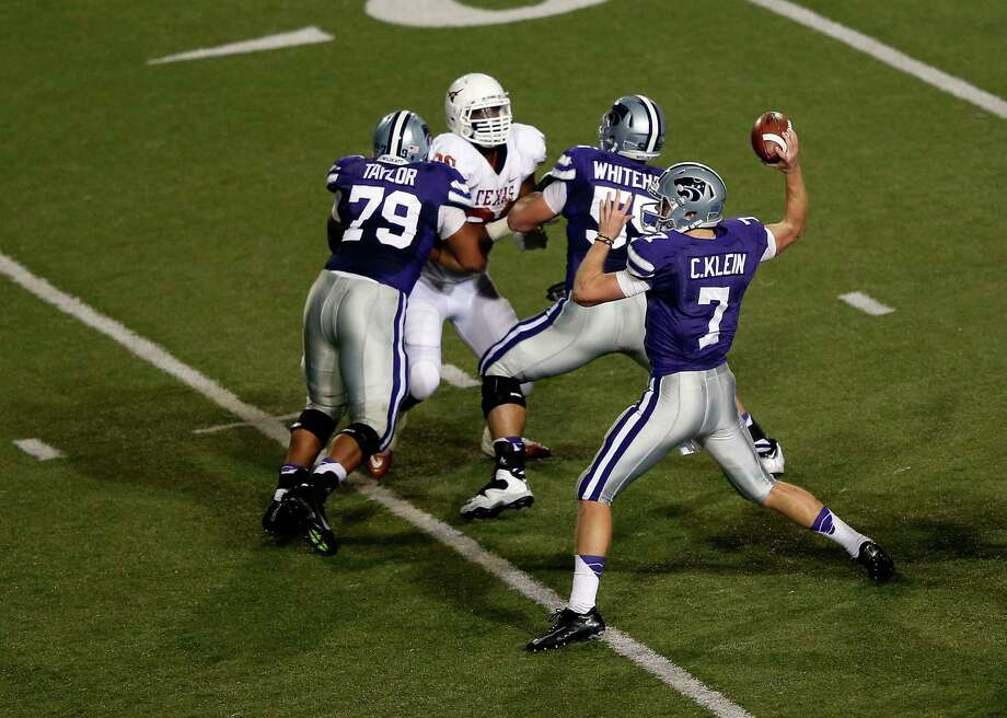 Quarterback Collin Klein #7 of the Kansas State Wildcats passes during the game against the Texas Longhorns at Bill Snyder Family Football Stadium on December 1, 2012 in Manhattan, Kansas. Photo: Jamie Squire, Getty Images / 2012 Getty Images