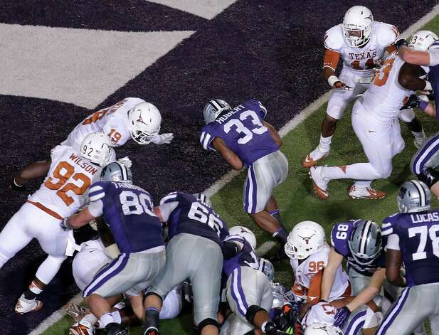 Kansas State running back John Hubert (33) runs into the end zone to score a touchdown during the second half of an NCAA college football game against Texas, Saturday, Dec. 1, 2012, in Manhattan, Kan. (AP Photo/Charlie Riedel) Photo: Charlie Riedel, Associated Press / AP