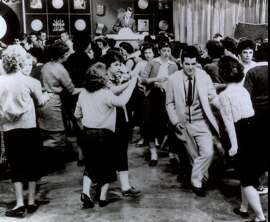 "Teens dance during ""American Bandstand"" in Philadephia in this undated photo."