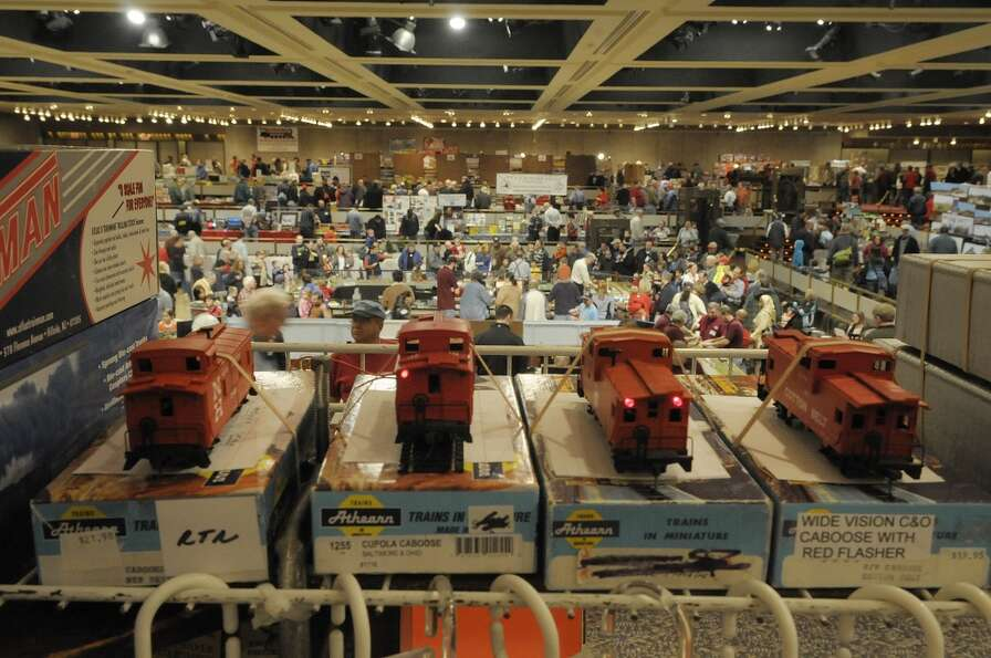 HO scale train caboose cars with flashing LED running lights are seen on display for sale at the T &
