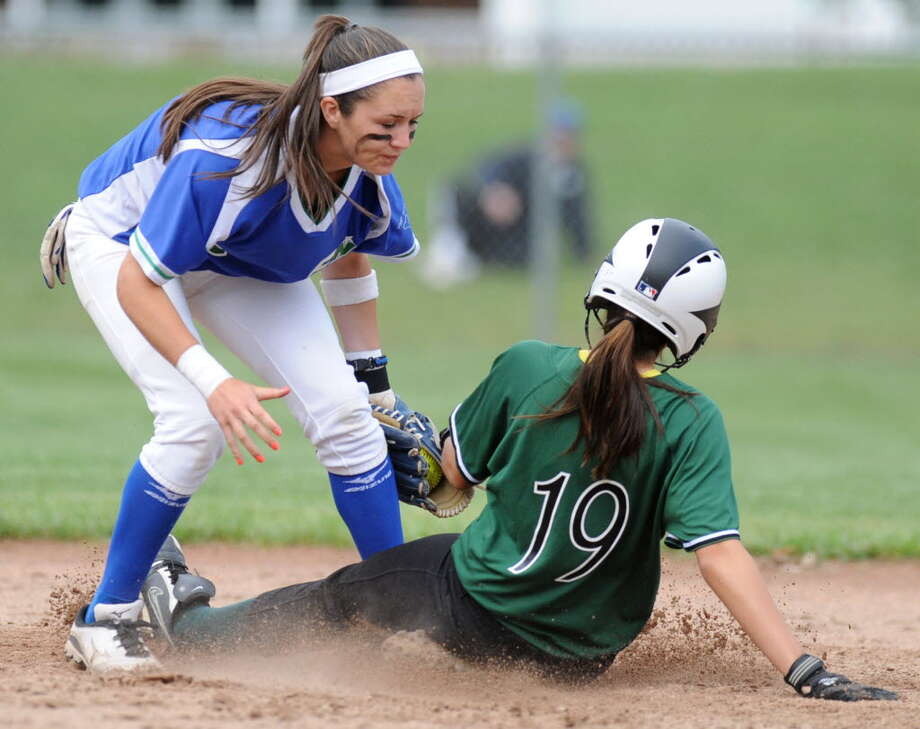 Shenendehowa runner Deanna Rivers is tagged out at second base by Amy VanHoven of Cicero-North Syracuse during a state Class AA regional softball game June 5 in Colonie. (Lori Van Buren / Times Union)