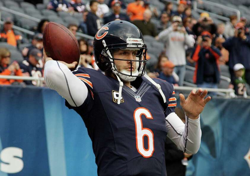 Chicago Bears quarterback Jay Cutler (6) warms up before an NFL football game against the Seattle Se