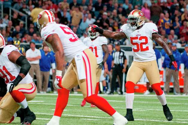 Patrick Willis (52) of the 49ers during the NFL game between the San Francisco 49ers vs the St. Louis Rams at the Edward Jones Dome in St. Louis Missouri.  (Danny Reise / SPECIAL TO THE CHRONICLE) Photo: Danny Reise, SFC / Danny Reise