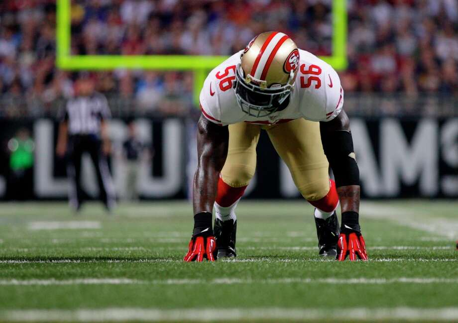San Francisco 49ers linebacker Tavares Gooden takes up his position during the first quarter of an NFL football game against the St. Louis Rams Sunday, Dec. 2, 2012, in St. Louis. Photo: Tom Gannam, Associated Press / FR45452 AP