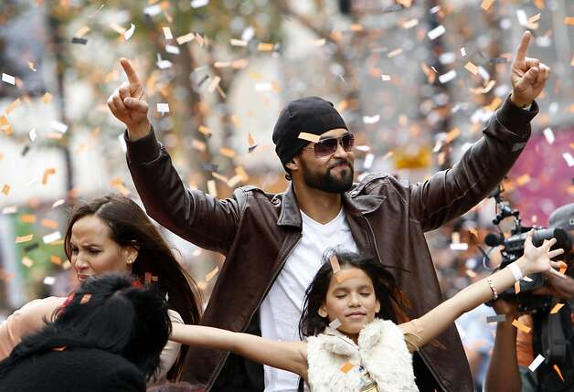 Angel Pagan rides in the San Francisco Giants World Series Parade in San Francisco, Calif., Wednesday, October 31, 2012. Photo: Sarah Rice, Special To The Chronicle