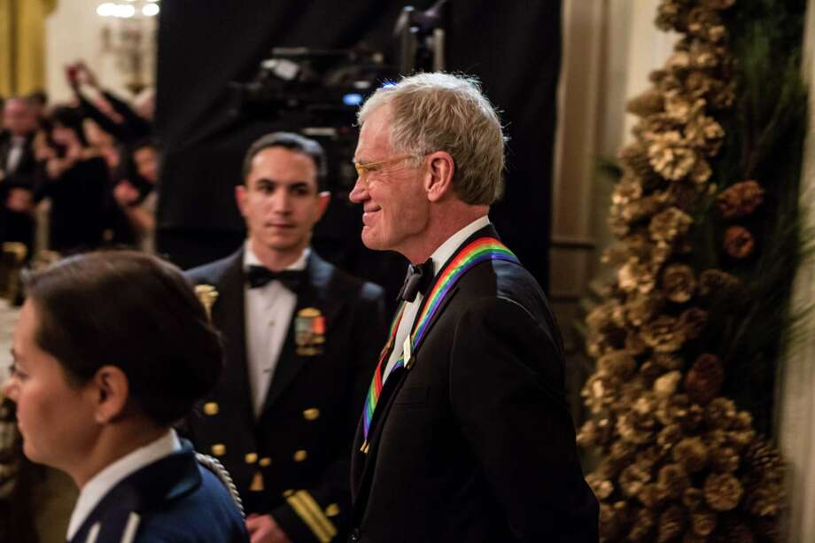 Comedian David Letterman attends the Kennedy Center Honors reception at the White House on December 2, 2012 in Washington, DC. The Kennedy Center Honors recognized seven individuals - Buddy Guy, Dustin Hoffman, David Letterman, Natalia Makarova, John Paul Jones, Jimmy Page, and Robert Plant - for their lifetime contributions to American culture through the performing arts. Photo: Brendan Hoffman, Getty Images / 2012 Getty Images
