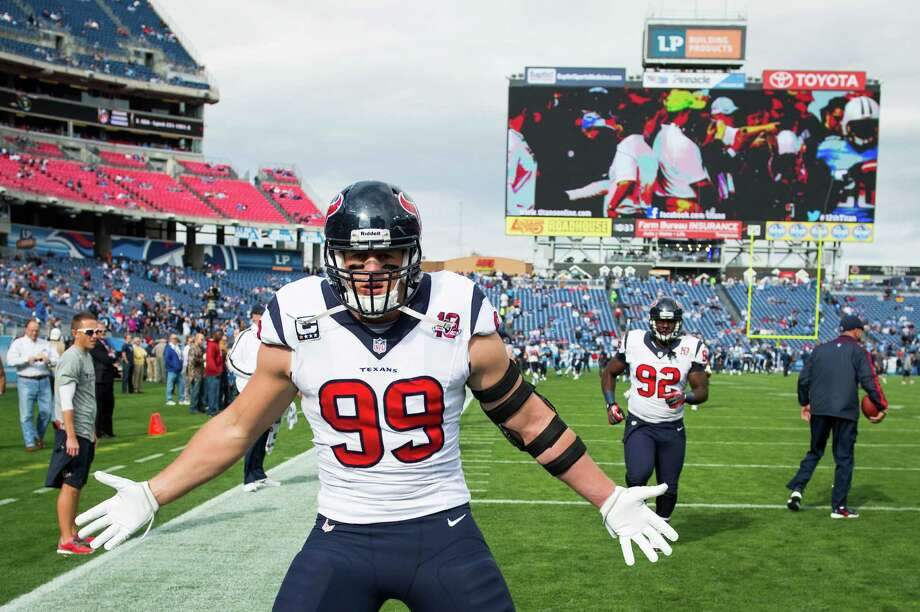 Texans defensive end J.J. Watt prepares for the start of the game against the Titans. Photo: Smiley N. Pool, Houston Chronicle / © 2012  Houston Chronicle