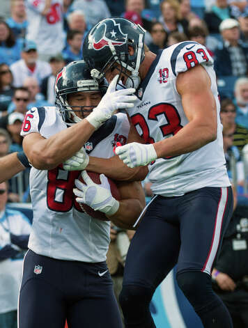 After Texans fullback James Casey scored, receiver Kevin Walter joins him to celebrate. Photo: Smiley N. Pool, Houston Chronicle / © 2012  Houston Chronicle