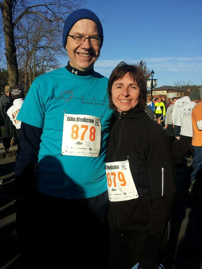 John and Tatiana Mazur participated in The Cardiac Classic in Schenectady on Thanksgiving, John?s third. In 2009, he suffered sudden cardiac arrest and was saved by CPR and is now a strong advocate for CPR instruction. He also is a member of a support group for cardiac arrest survivors, and a volunteer for the American Heart Association.  He is a member of the Heart Walk team called ?And the Beat Goes On? and works for passage of the CPR in Schools bill, which would make sure every graduate of a New York state high school knows CPR. (Veronika Mazur)