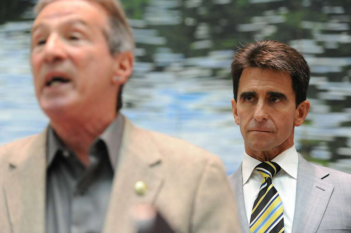 Assemblyman Tom Ammiano (front) and Sen. Mark Leno held a press conference in the State Building on October 19, 2011. They were calling an end to the federal government's crackdown on medical marijuana dispensaries
