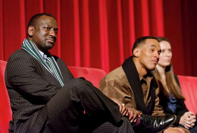 "Yusef Salaam and Korey Wise answers questions from the audience following a screening of the documentary film ""The Central Park Five"" at the Avon Theatre, Stamford, CT on Sunday December 2nd 2012. Yusef and Korey are two of the Central Park Five featured in the film which was directed by Ken Burns and his daughter Sarah Burns (right). Photo: Mark Conrad / Stamford Advocate Freelance"