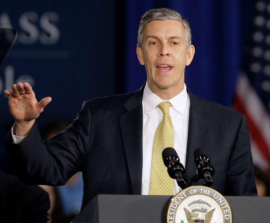 HOLD FOR RELEASE ON MONDAY, DEC. 3, 2012, AT 12:01 EST AND THEREAFTER. PHOTO SHOULD NOT BE PUBLISHED ONLINE OR BROADCAST UNTIL MONDAY, DEC. 3, 2012, AT 12:01 EST - FILE - In this Jan. 12, 2012, file photo, Education Secretary Arne Duncan speaks at Lincoln High School in Gahanna, Ohio. School for thousands of public school students is about to get quite a bit longer. Five states announced Monday, Dec. 3, 2012, they will add at least 300 hours of learning time to the calendar in some schools starting in 2013. (AP Photo/Jay LaPrete, File) Photo: Jay LaPrete