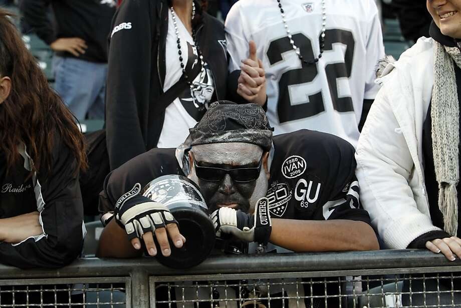 Señor Raider looks none too happy after the Raiders lost on Sunday. The Oakland Raiders played the Cleveland Browns at O.co Coliseum in Oakland, Calif., on Sunday, December 2, 2012, losing 20-17. Photo: Carlos Avila Gonzalez, The Chronicle