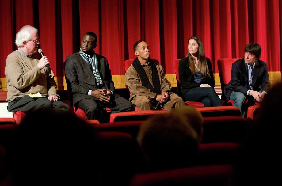 "Left to right: Joe Meyers of the Connecticut Post moderates a qustion and answer session following a screening of the movie ""The Central Park Five"" with Yusef Salaam and Korey Wise two of the Central Park Five featured in the film, and directors Sarah Burns and her father Ken Burns at the Avon Theatre, Stamford, CT on Sunday December 2nd 2012. Photo: Mark Conrad / Stamford Advocate Freelance"