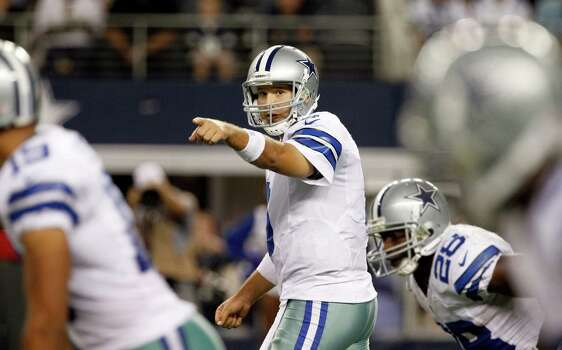 Dallas Cowboys quarterback Tony Romo (9) calls a play against the Philadelphia Eagles during the second half of an NFL football game Sunday, Dec. 2, 2012 in Arlington, Texas. (AP Photo/Tony Gutierrez) Photo: Tony Gutierrez, Associated Press / AP